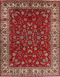 All-Over Floral Red Tabriz Persian Area Rug 9x12