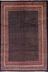 Navy Blue Boteh Botemir Persian Area Rug 7x10