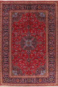 Floral Red Kashan Persian Area Rug 8x11
