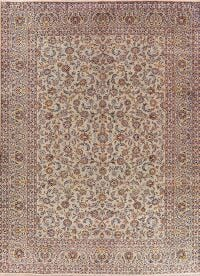 Sage Green Floral Kashan Persian Area Rug 10x13
