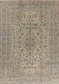 Floral Green Kashan Persian Area Rug 9x13