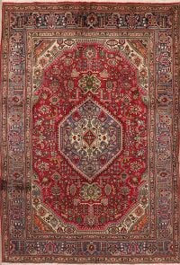 Vintage Geometric Red Tabriz Persian Area Rug 7x10
