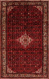 Geometric Red Hamedan Persian Area Rug 7x11