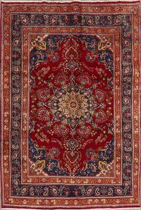 Floral Red Mashad Persian Area Rug 7x10