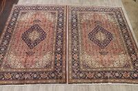 Pair of 2 Vintage Geometric Tabriz Persian Area Rug 7x10