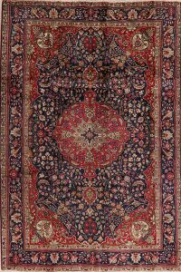 Floral Tabriz Persian Navy Blue Area Rug 7x10