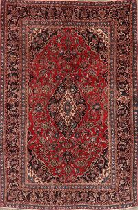 Floral Kashan Persian Red Area Rug 6x9