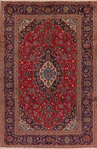 Floral Kashan Persian Red Area Rug 7x10