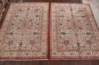 Pair of 2 Vintage Floral Tabriz Persian Ivory Area Rug 8x11
