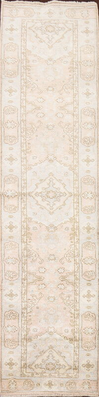 Vegetable Dye Muted Oushak Turkish Runner Rug 2x10