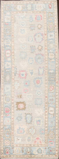 Vegetable Dye Muted Oushak Oriental Runner Rug 3x10