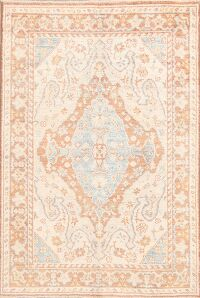 Vegetable Dye Muted Oushak Turkish Area Rug 4x6
