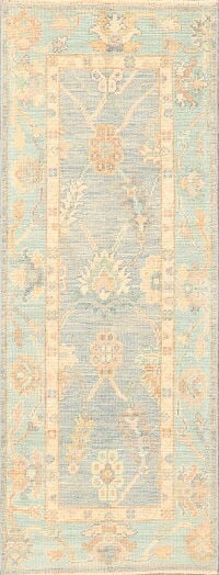 Vegetable Dye Muted Oushak Turkish Runner Rug 2x6