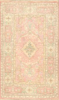 Vegetable Dye Muted Oushak Turkish Area Rug 3x5