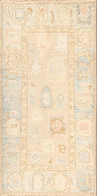 Vegetable Dye Muted Oushak Turkish Runner Rug 2x5