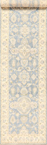 Vegetable Dye Muted Oushak Turkish Runner Rug 4x17