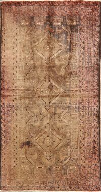 Vintage Brown Distressed Balouch Persian Runner Rug 3x7