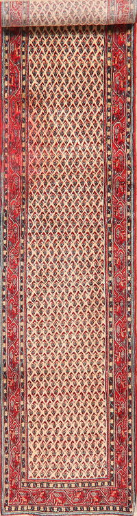 All-Over Ivory Boteh Botemir Persian Runner Rug 3x14