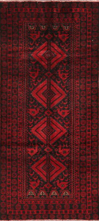 Animal Pictorial Red Balouch Oriental Runner Rug 4x8