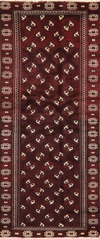 Geometric Red Balouch Persian Runner Rug 3x7