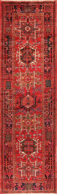 Tribal Geometric Gharajeh Persian Runner Rug 3x11