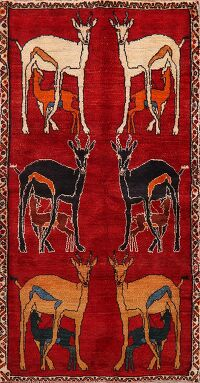 Animal Pictorial Red Gabbeh Persian Area Rug 3x6