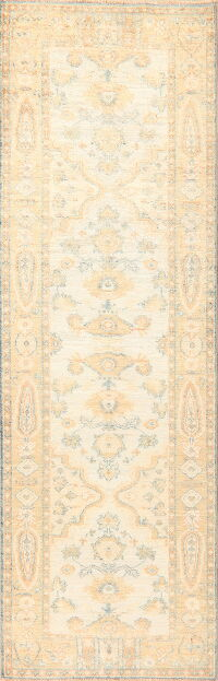 Vegetable Dye Muted Oushak Turkish Runner Rug 3x10