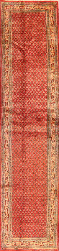 All-Over Red Boteh Botemir Persian Runner Rug 3x12