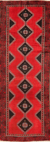 Vintage Geometric Red Balouch Persian Runner Rug 3x9