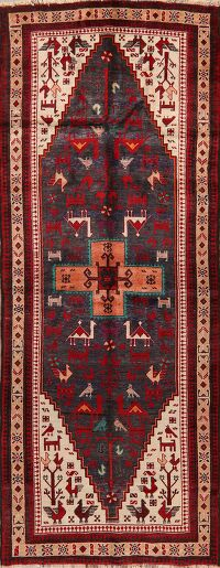Vintage Geometric Tribal Balouch Persian Runner Rug 4x9