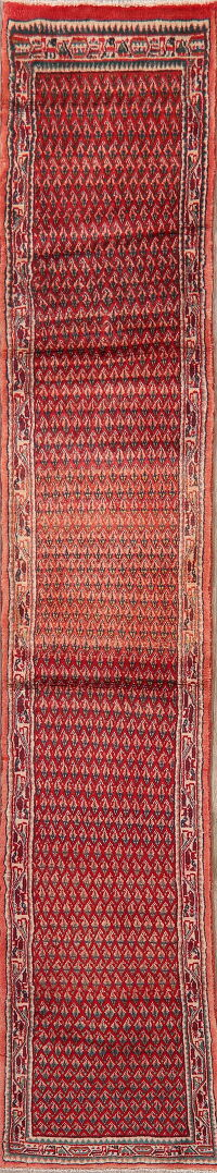 All-Over Red Boteh Botemir Persian Runner Rug 2x11