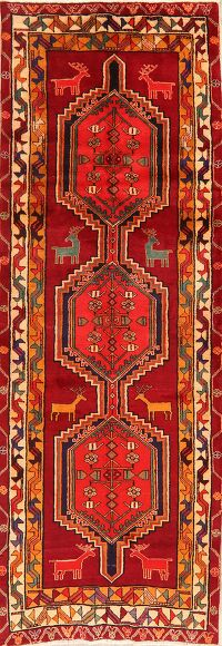 Animal Pictorial Geometric Ardebil Persian Runner Rug 4x10