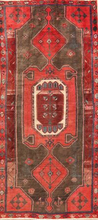 Brown Geometric Hamedan Persian Runner Rug 4x8