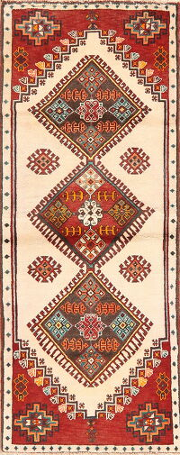 Geometric Ivory Shiraz Persian Area Rug 3x6