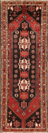 Tribal Geometric Bakhtiari Persian Runner Rug 4x10