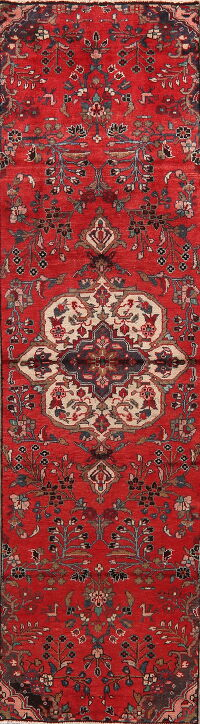 Vintage Floral Red Lilian Persian Runner Rug 3x9