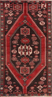Vintage Tribal Geometric Hamedan Persian Runner Rug 3x7