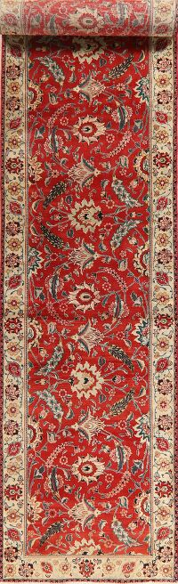 Antique Floral Red Large Tabriz Persian Runner Rug 3x19