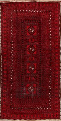 Geometric Red Balouch Persian Area Rug 4x8