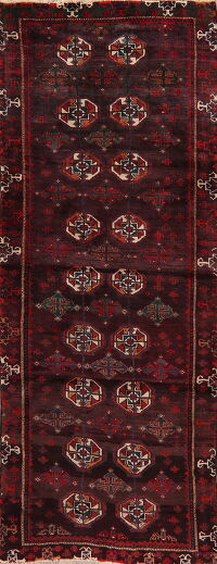 Vintage Geometric Balouch Persian Runner Rug 3x8