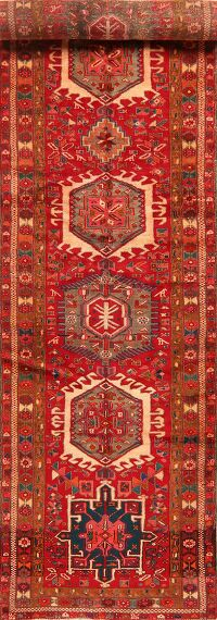 Tribal Geometric Gharajeh Persian Runner Rug 3x15