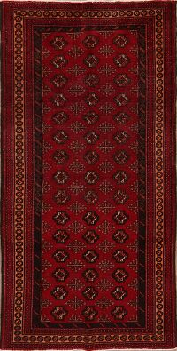 Vintage Geometric Red Balouch Persian Area Rug 4x7