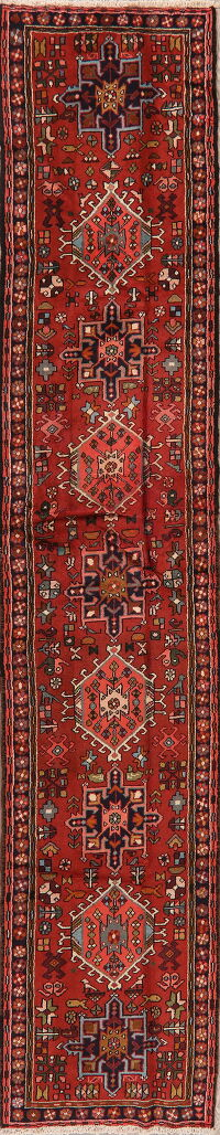 Tribal Geometric Gharajeh Persian Runner Rug 2x12