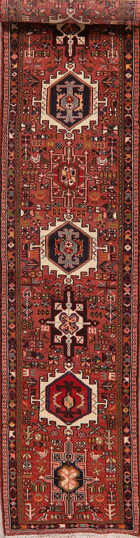 Tribal Geometric Gharajeh Persian Runner Rug 3x13