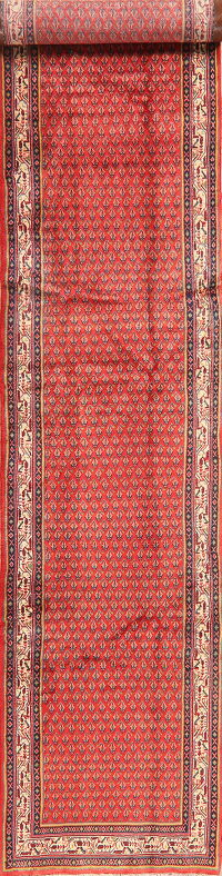 All-Over Red Boteh Botemir Persian Runner Rug 3x14