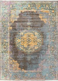 Vintage Style Floral Distressed Heat-Set Area Rugs