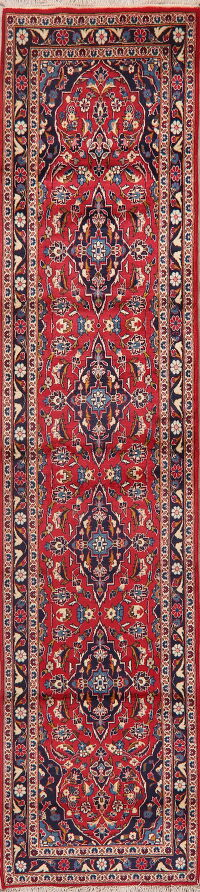 Floral Red Kashan Persian Runner Rug 3x11