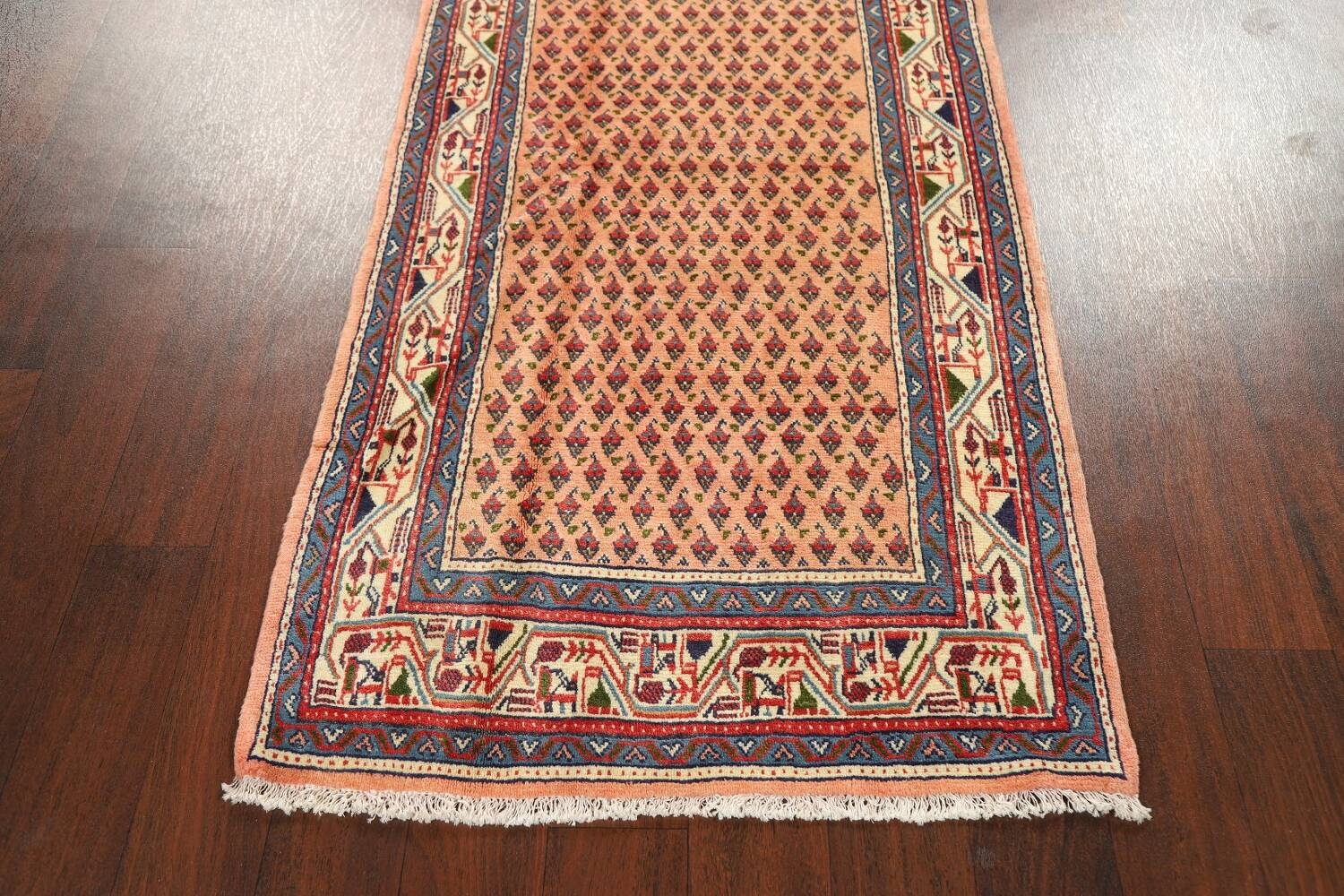 All-Over Peach Botemir Persian Runner Rug 3x14 image 8