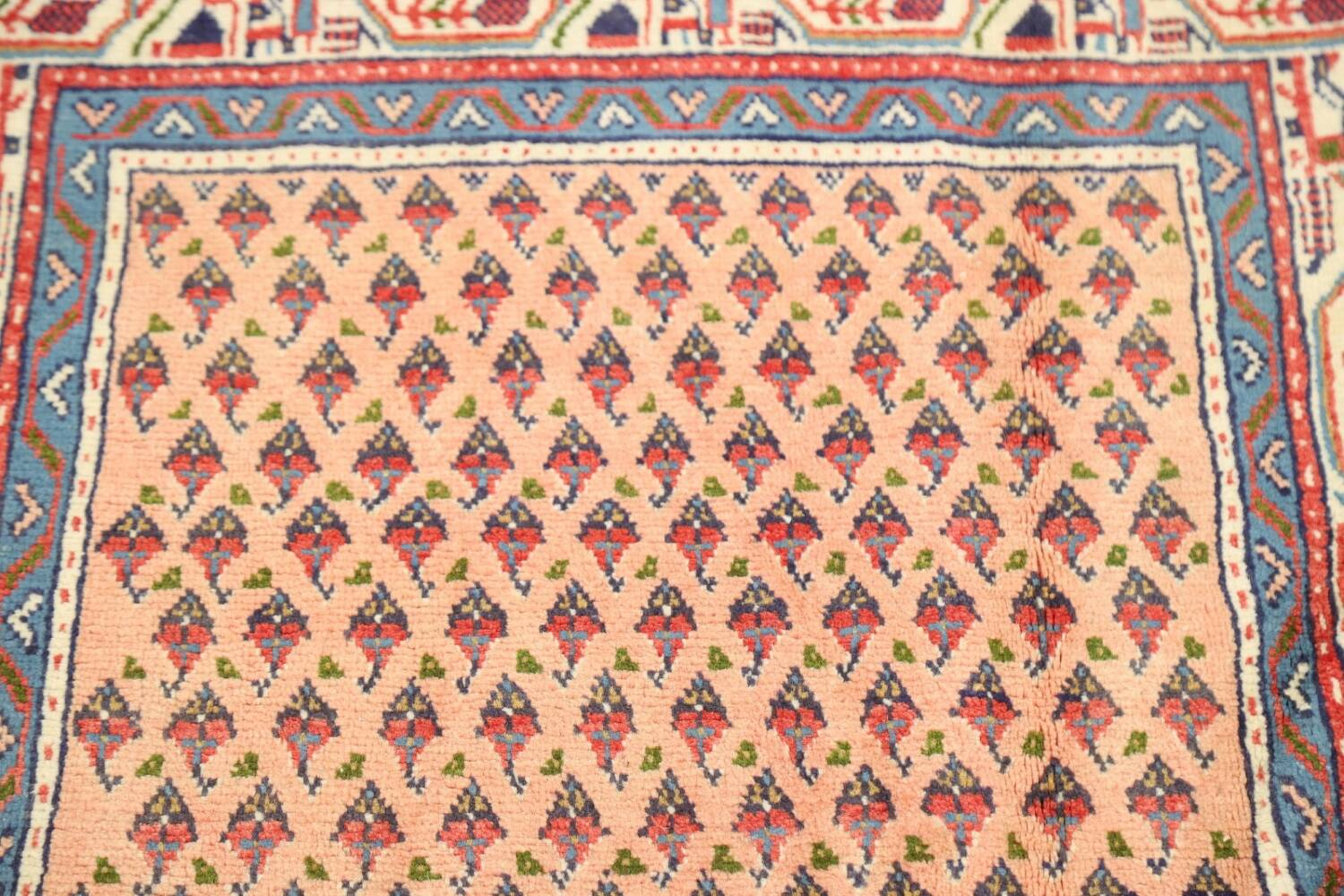 All-Over Peach Botemir Persian Runner Rug 3x14 image 10