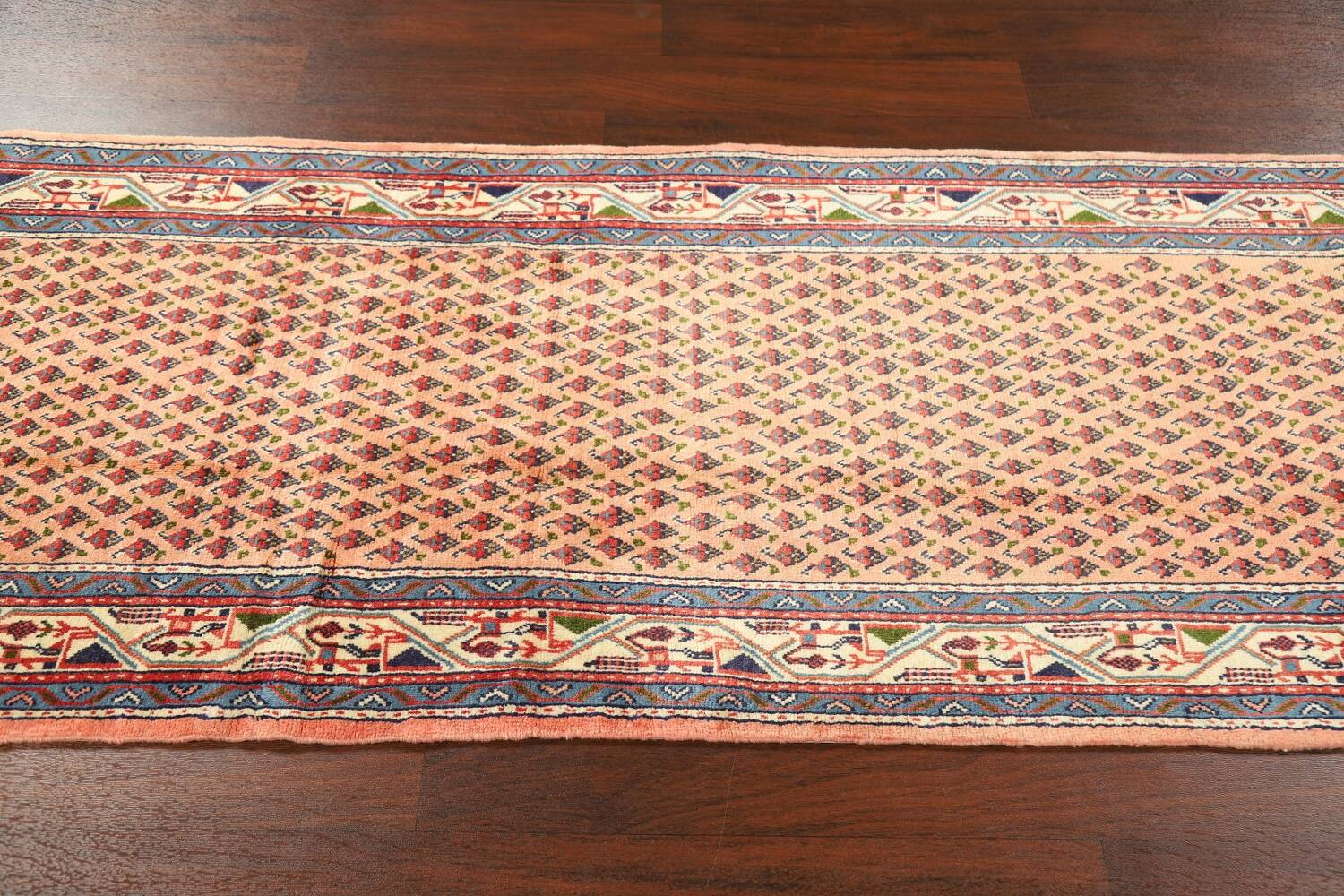 All-Over Peach Botemir Persian Runner Rug 3x14 image 12